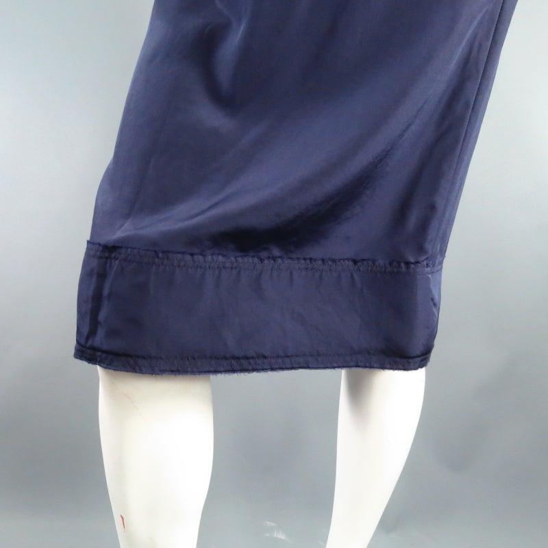 LANVIN Size 6 Navy Silk Ribon Waist Raw Hemmed Skirt 2008 6