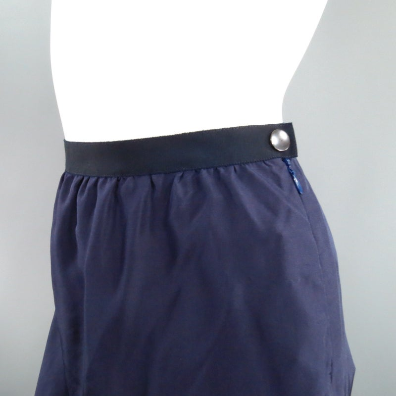 LANVIN Size 6 Navy Silk Ribon Waist Raw Hemmed Skirt 2008 In Excellent Condition For Sale In San Francisco, CA