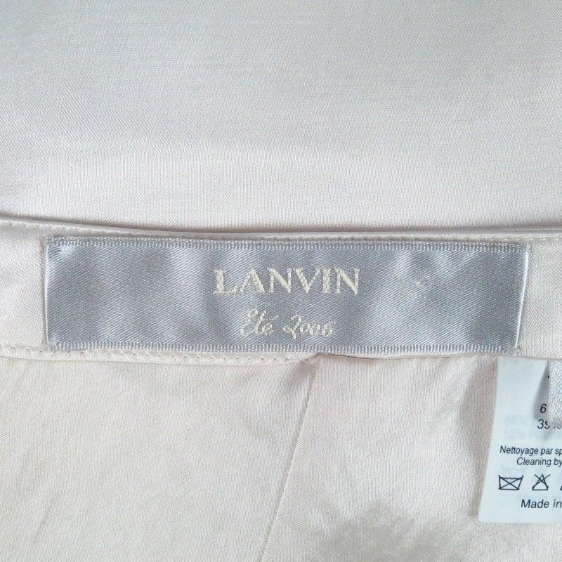 LANVIN Size 8 Cream Satin Pencil Skirt 6