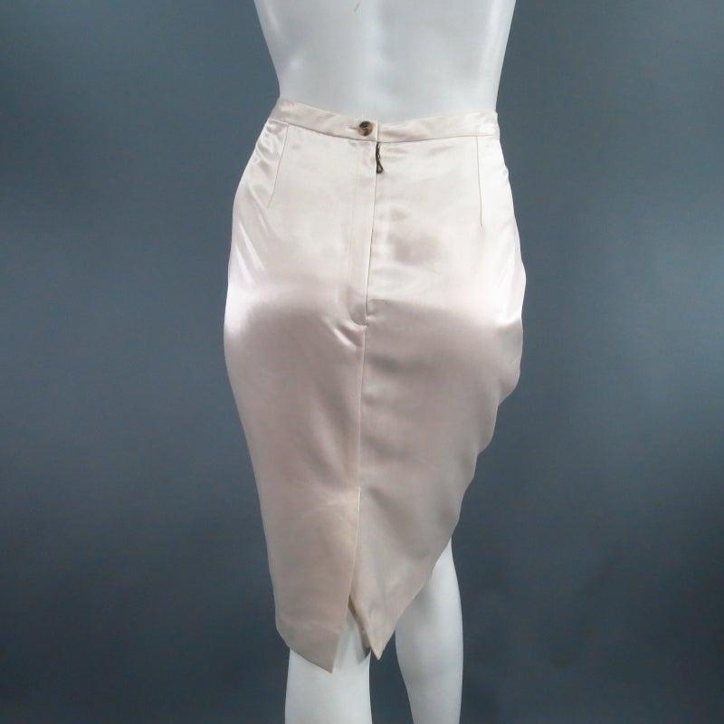 LANVIN Size 8 Cream Satin Pencil Skirt 3