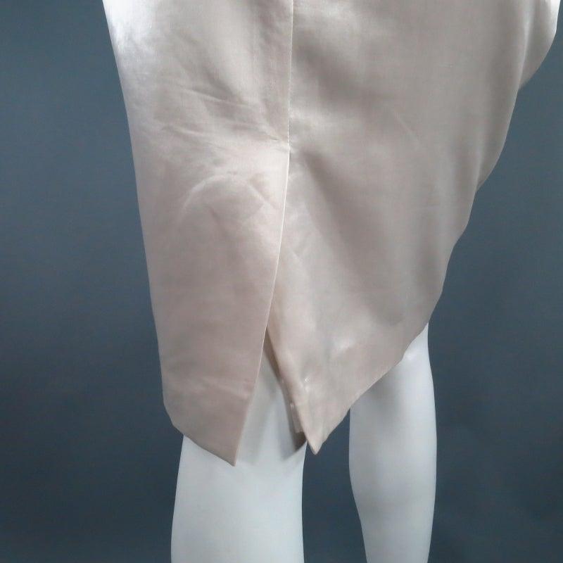 LANVIN Size 8 Cream Satin Pencil Skirt 5