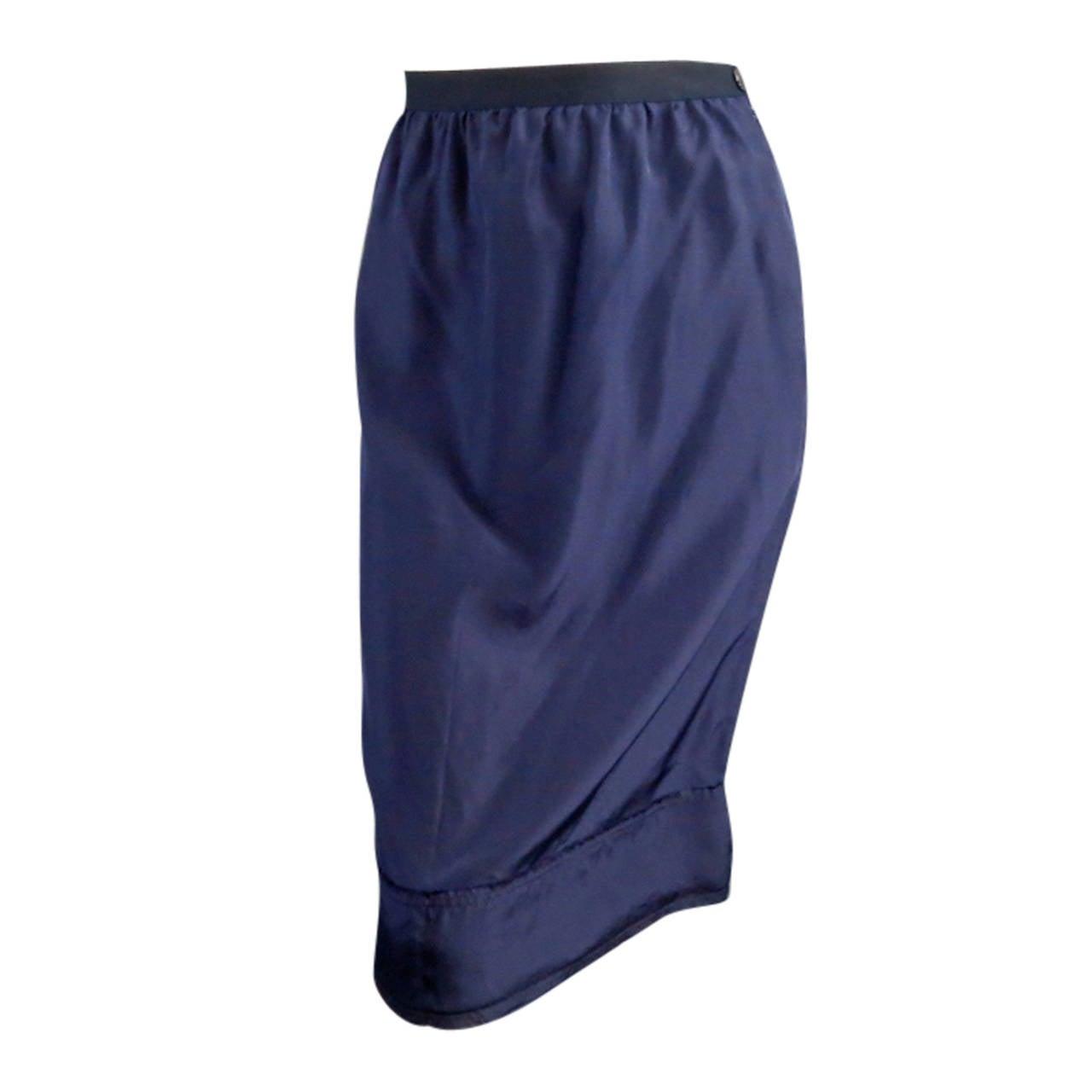 LANVIN Size 6 Navy Silk Ribon Waist Raw Hemmed Skirt 2008