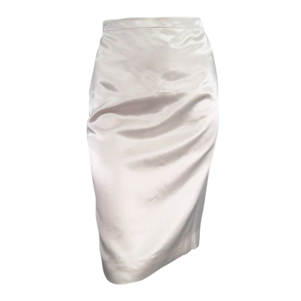 LANVIN Size 8 Cream Satin Pencil Skirt 1