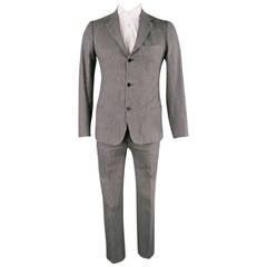 LUIGI BORRELLI 40 Regular Gray Glenplaid Cotton 32 32 Notch Lapel Suit