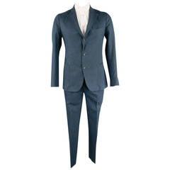 LUIGI BORRELLI 40 Regular Navy Linen/Cotton Patch Pocket Suit