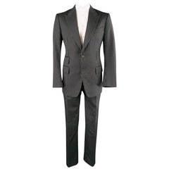 TOM FORD Men's 42 Long Black & White Pinstripe Wool / Mohair Peak Lapel Suit