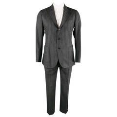 LUIGI BORRELLI Men's 40 Regular Charcoal PinStriped Wool Notch Lapel Patch Suit