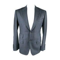 TOM FORD Men's 40 Long Navy Wool / Cashmere Nailhead Peak Lapel Sport Coat