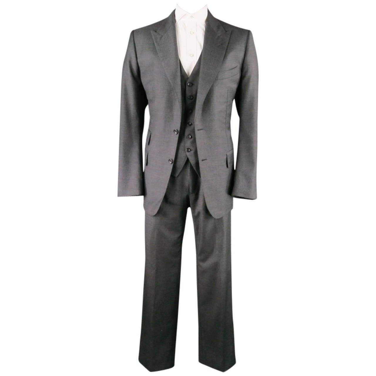 TOM FORD Men's 46 Long Dark Gray Wool Peak Lapel 33 34 3 Piece ...