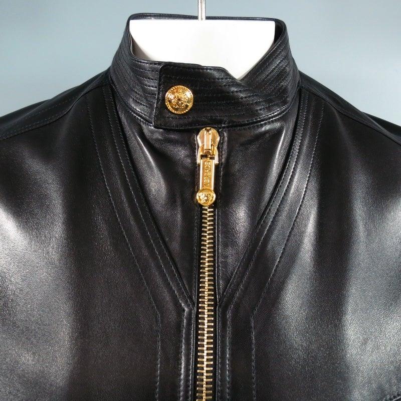 VERSACE 42 Black Leather Motorcylce Jacket with Gold Medusa ...
