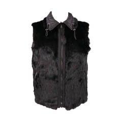 JOHN RICHMOND 40 Black Rayon Reversible Rabbit Fur Vest