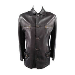 GIANNI VERSACE 40 Black Leather Belted Long Jacket