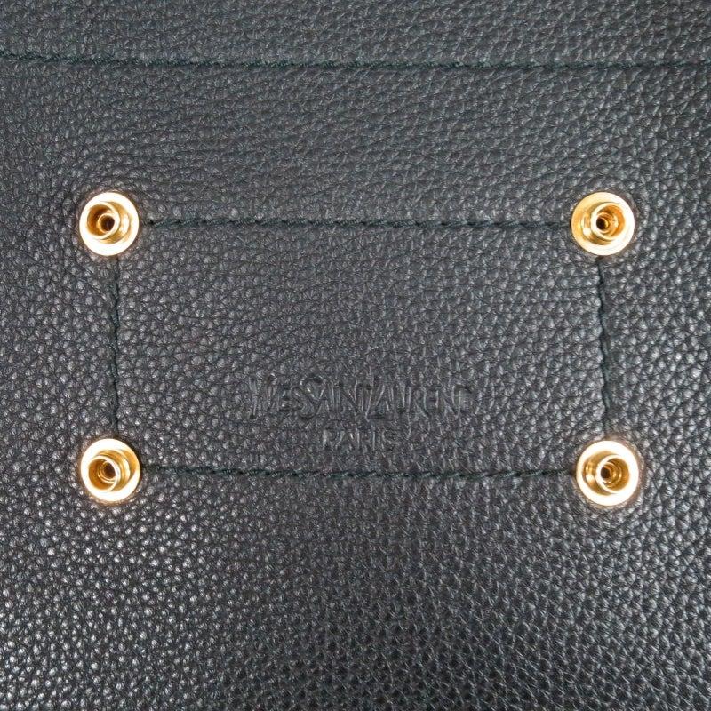 fake ysl handbags - YVES SAINT LAURENT Black Pebbled Leather Detachable Luggage Tag ...