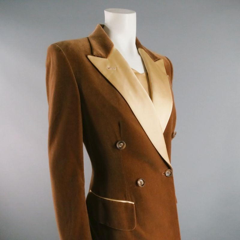 RICHARD TYLER 8 Champagne Silk Shift Dress & Brown Double Breasted Tuxedo Coat 5