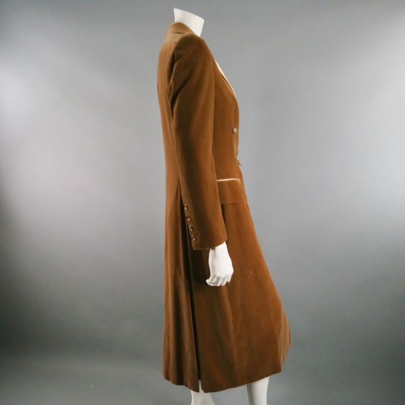 RICHARD TYLER 8 Champagne Silk Shift Dress & Brown Double Breasted Tuxedo Coat 7