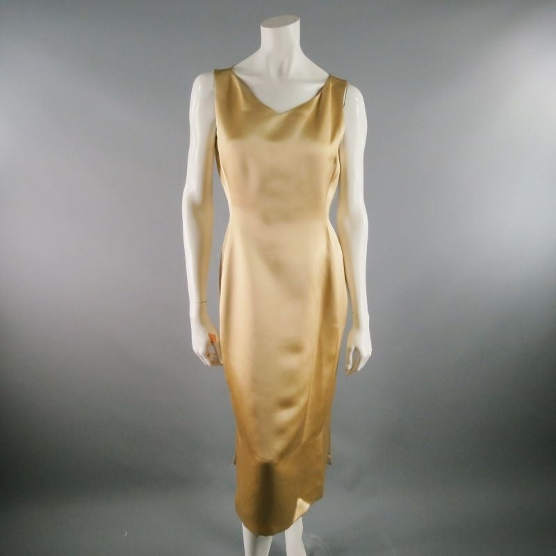 RICHARD TYLER 8 Champagne Silk Shift Dress & Brown Double Breasted Tuxedo Coat 3