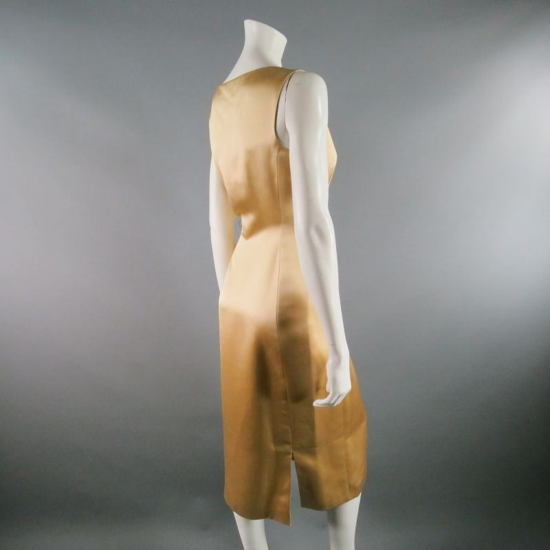 RICHARD TYLER 8 Champagne Silk Shift Dress & Brown Double Breasted Tuxedo Coat 4