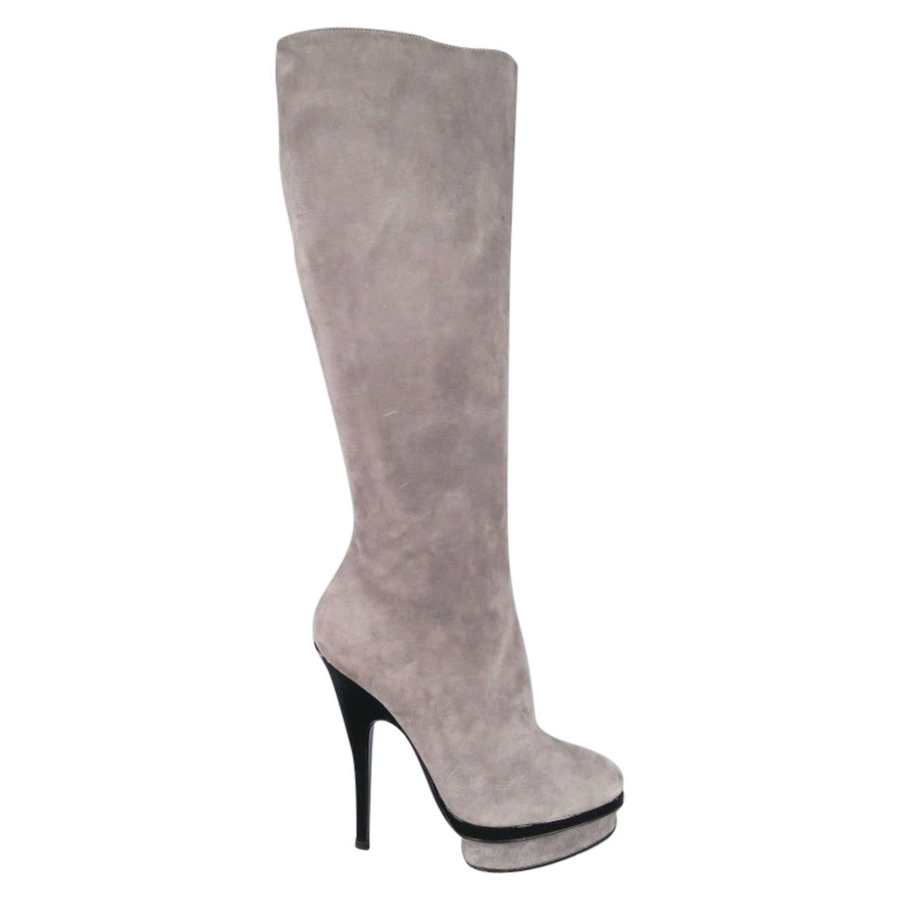 YSL Size 8 Gray Suede Stacked Platform Knee High Boots For Sale
