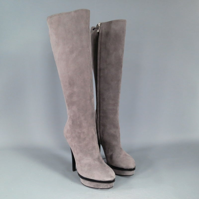 YSL Size 8 Gray Suede Stacked Platform Knee High Boots In New never worn Condition For Sale In San Francisco, CA