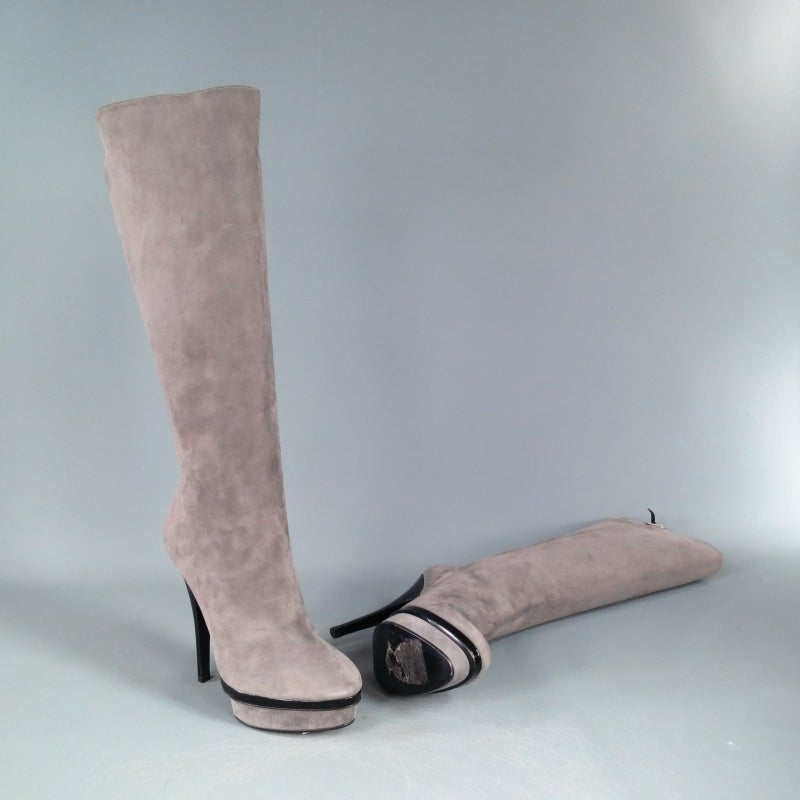 Women's YSL Size 8 Gray Suede Stacked Platform Knee High Boots For Sale