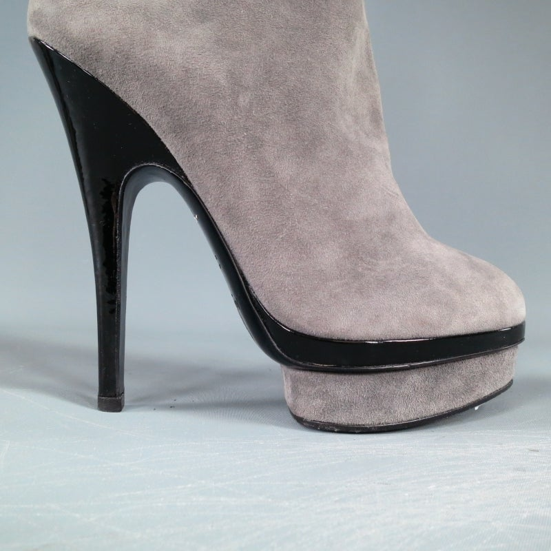ysl size 8 gray suede stacked platform knee high boots at