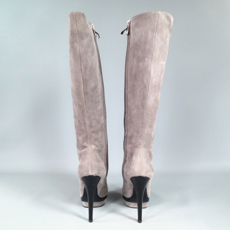 YSL Size 8 Gray Suede Stacked Platform Knee High Boots For Sale 3