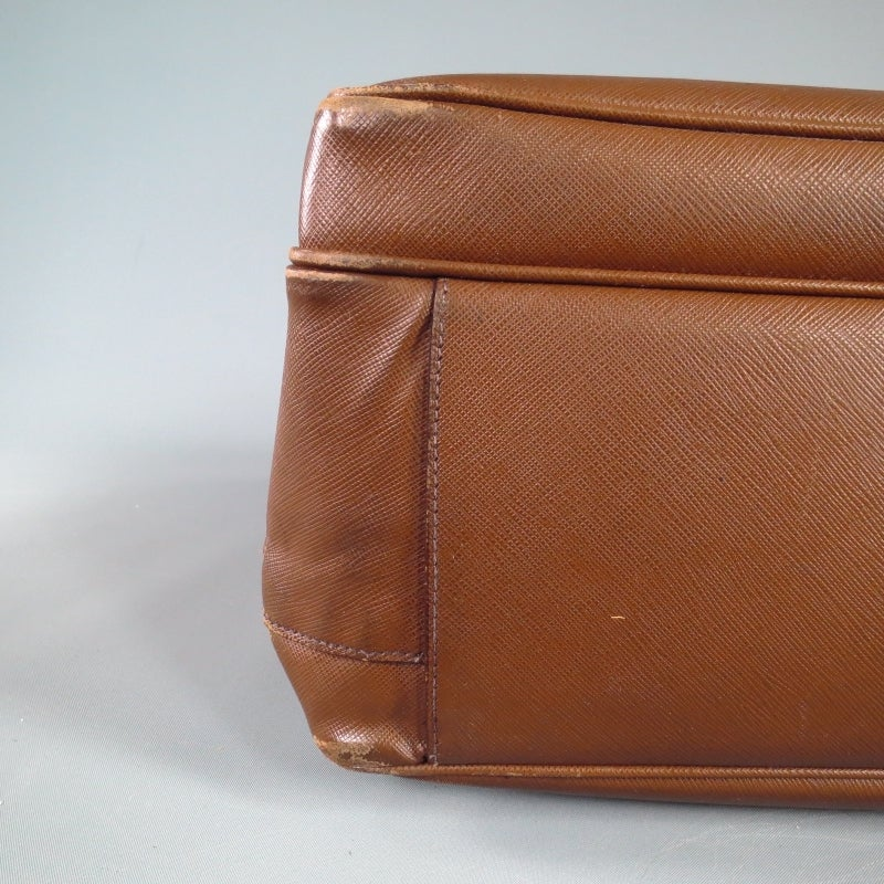 Prada Brown Saffiano Textured Leather Large Briefcase At