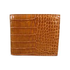 RALPH LAUREN Purple Label Brown Alligator Leather Bifold Wallet