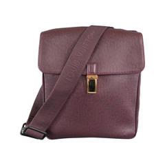 LOUIS VUITTON Acajou Burgundy Textured Taiga Leather Cross Body Bag