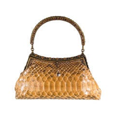 CLARA KASAVINA Beige Python Leather Crystal Rhinestone Evening Purse
