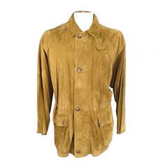 LORO PIANA Men's 46 Tan Suede Drawstring Waist Jacket