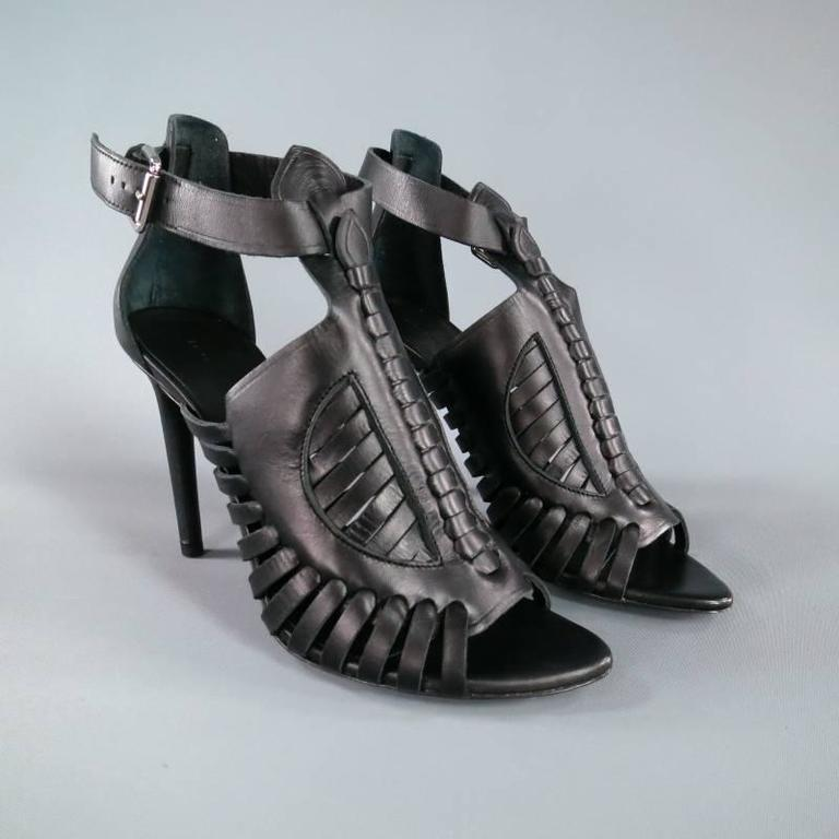 PROENZA SCHOULER Size 7.5 Black Leather Strappy Woven Sandals In New never worn Condition For Sale In San Francisco, CA