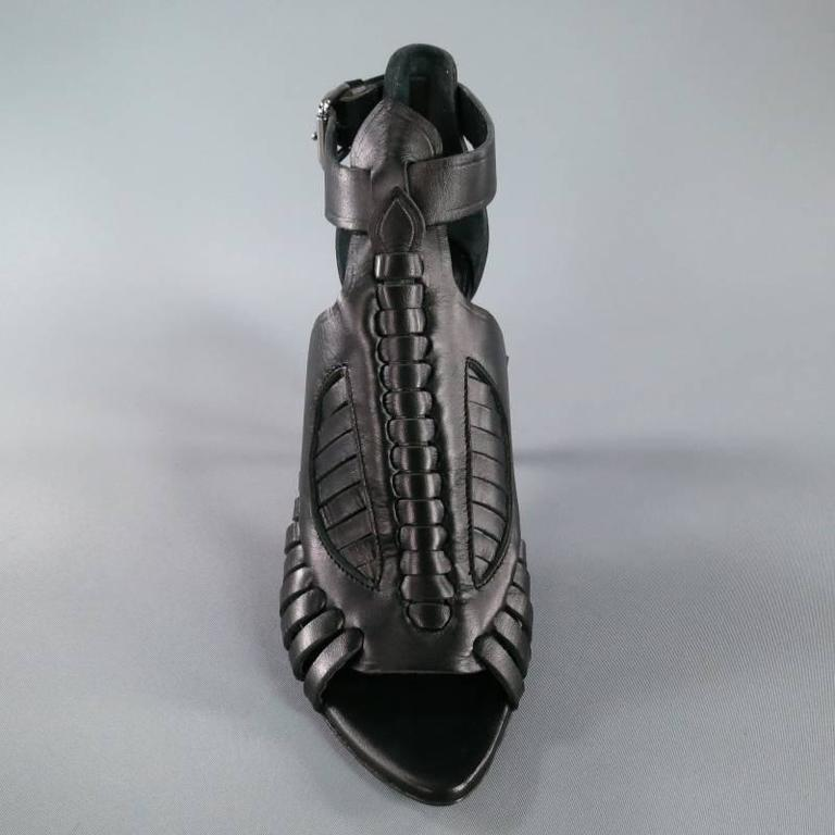 PROENZA SCHOULER Size 7.5 Black Leather Strappy Woven Sandals For Sale 1