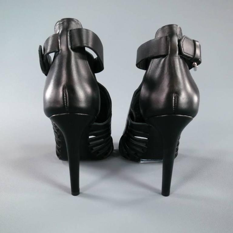 PROENZA SCHOULER Size 7.5 Black Leather Strappy Woven Sandals For Sale 3