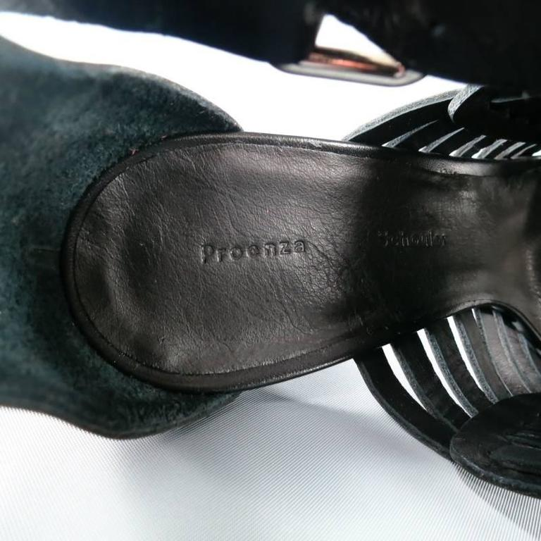 PROENZA SCHOULER Size 7.5 Black Leather Strappy Woven Sandals For Sale 6