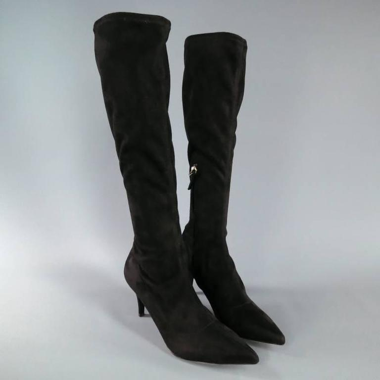 BARNEY'S NEW YORK Size 7.5 Black Suede Pointed Toe Knee Length Boots 2