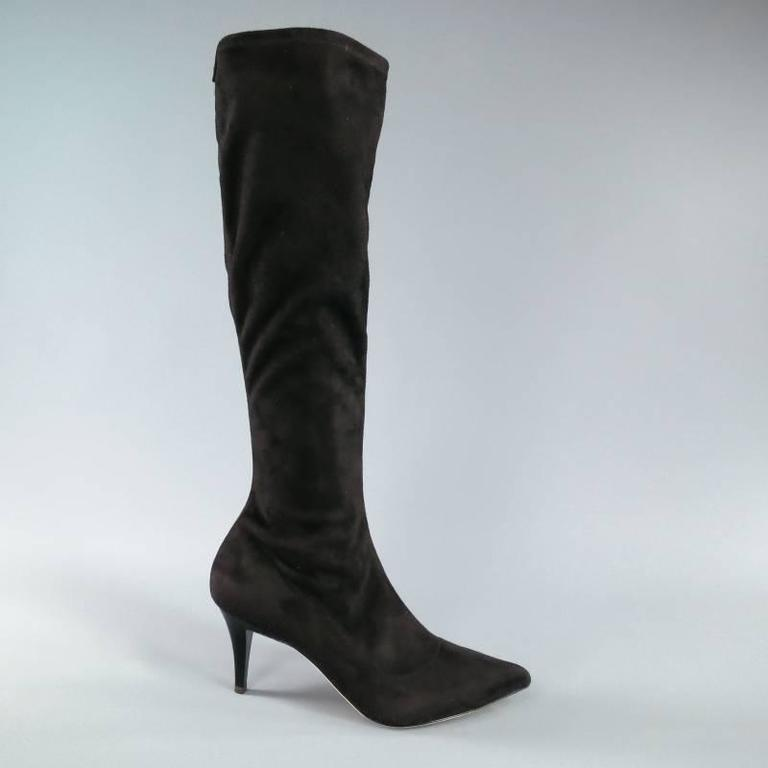 BARNEY'S NEW YORK Size 7.5 Black Suede Pointed Toe Knee Length Boots 5