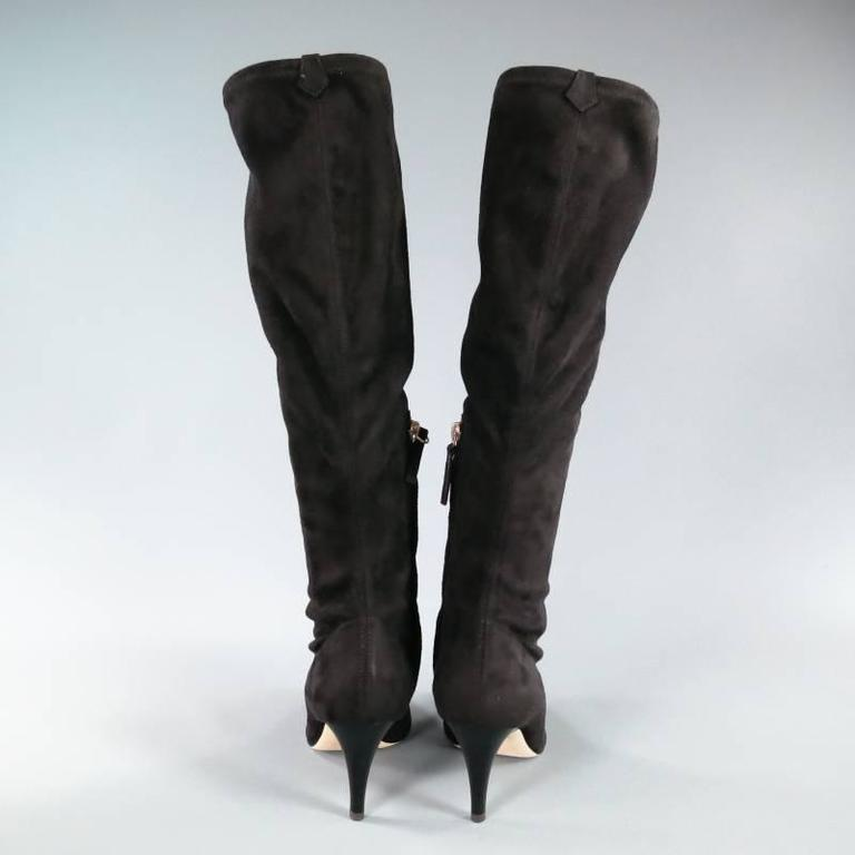BARNEY'S NEW YORK Size 7.5 Black Suede Pointed Toe Knee Length Boots 3