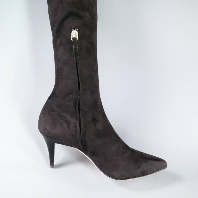 BARNEY'S NEW YORK Size 7.5 Black Suede Pointed Toe Knee Length Boots 4