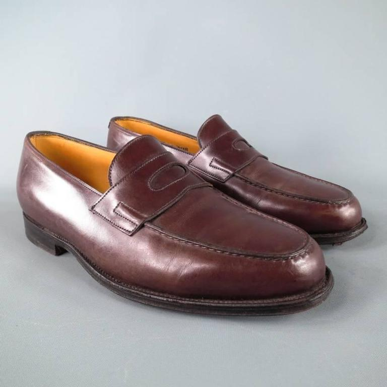 """JOHN LOBB """"LOPEZ"""" Size 7.5 Brown Leather Loafers 3"""