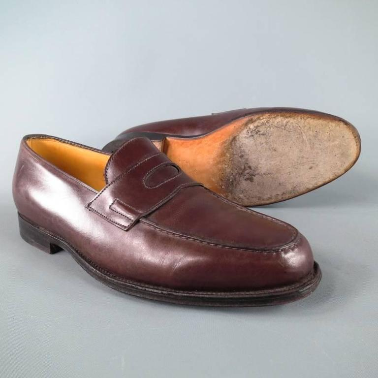 """JOHN LOBB """"LOPEZ"""" Size 7.5 Brown Leather Loafers 6"""