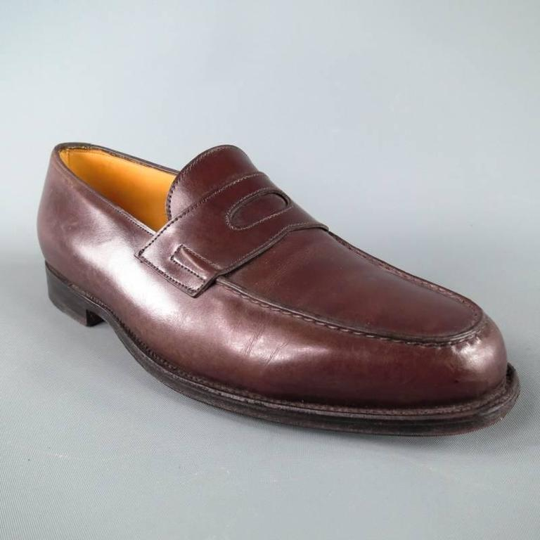 """JOHN LOBB """"LOPEZ"""" Size 7.5 Brown Leather Loafers 2"""