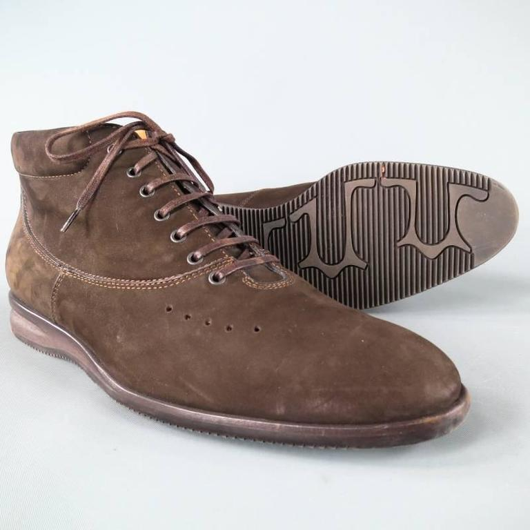 John Lobb Brown Nubuck Lace up Ankle Boots, Size 8  In Excellent Condition For Sale In San Francisco, CA