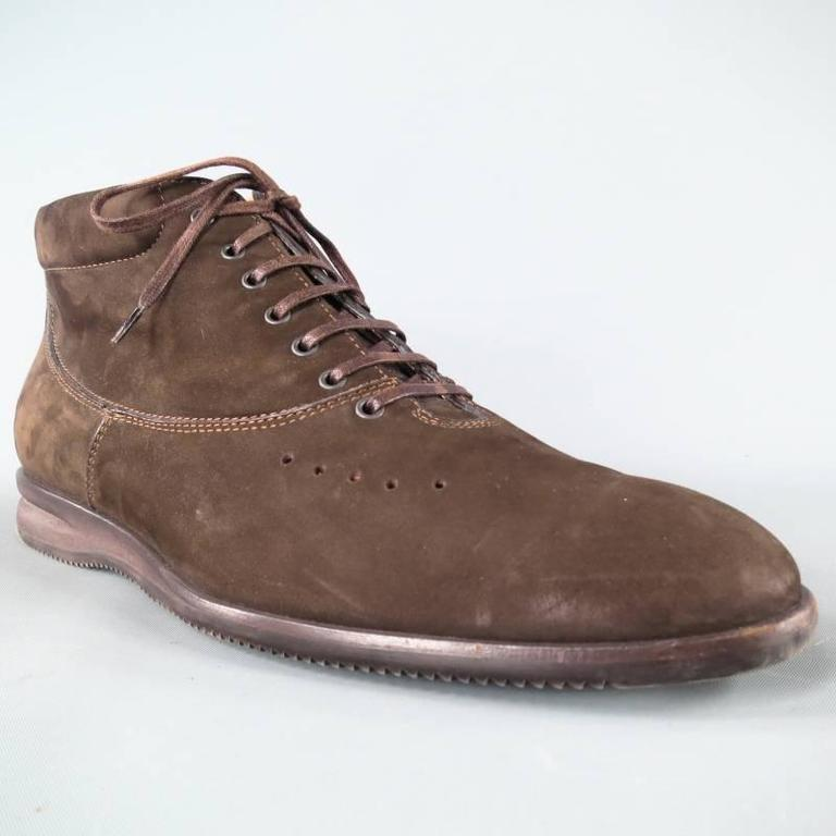 John Lobb Brown Nubuck Lace up Ankle Boots, Size 8  For Sale 2