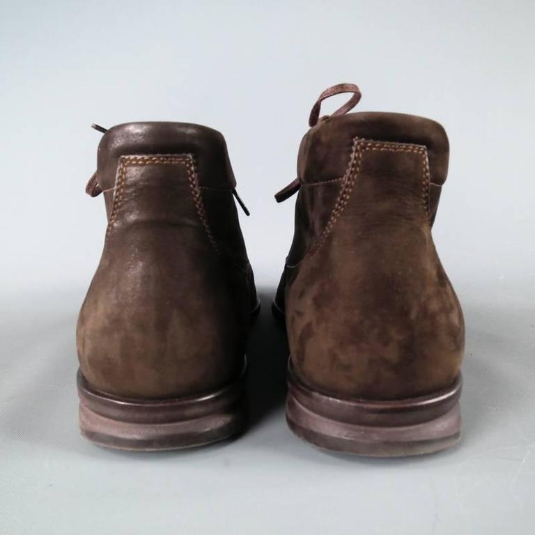 John Lobb Brown Nubuck Lace up Ankle Boots, Size 8  For Sale 3