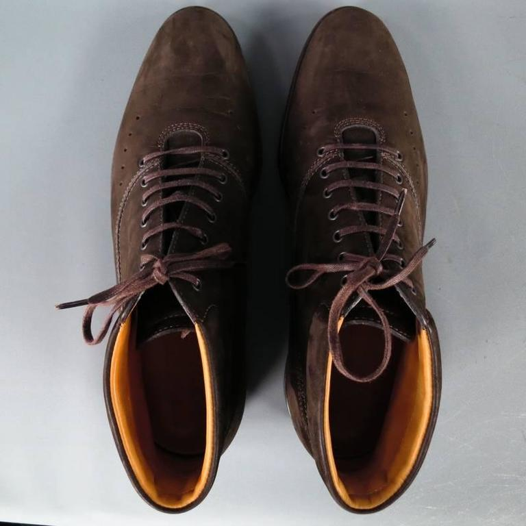 John Lobb Brown Nubuck Lace up Ankle Boots, Size 8  For Sale 4