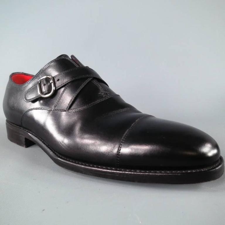 Kiton Size 8 Black And Red Leather Double Cossed Monk