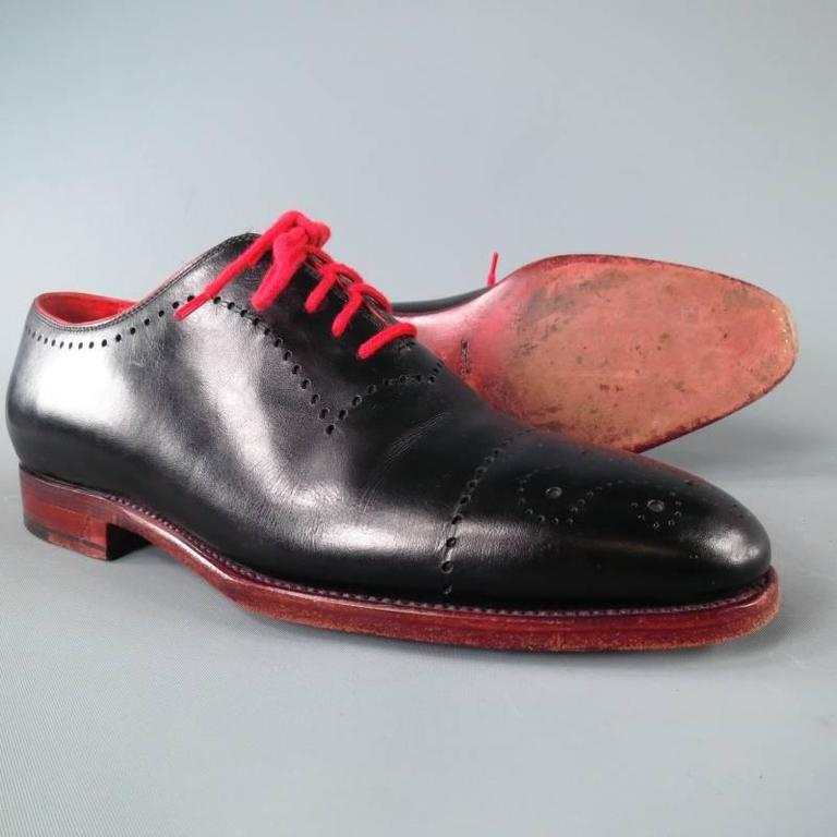 KITON Size 7.5 Men's Black & Red Leather Lace Up For Sale 3
