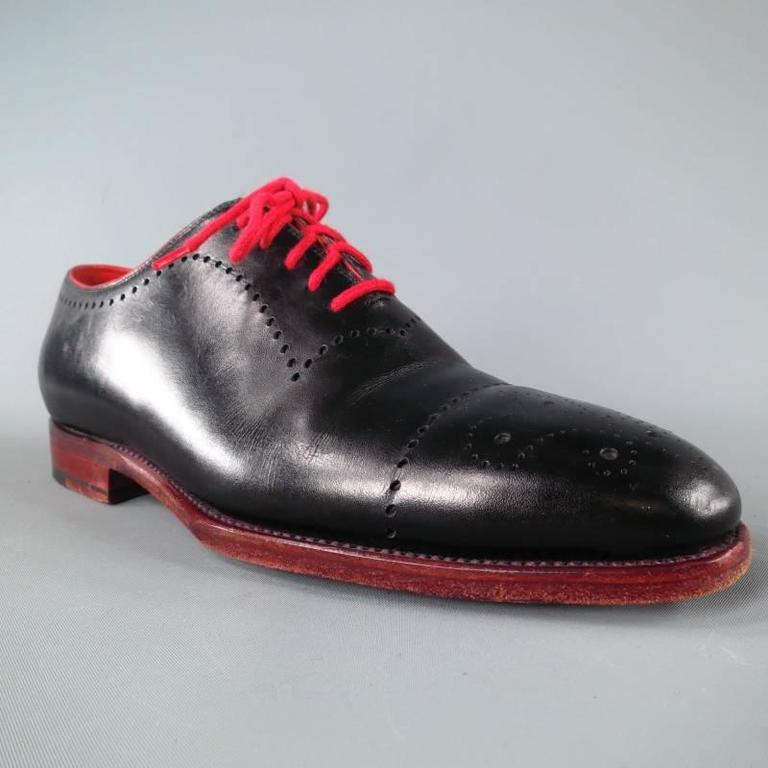 KITON Size 7.5 Men's Black & Red Leather Lace Up For Sale 4