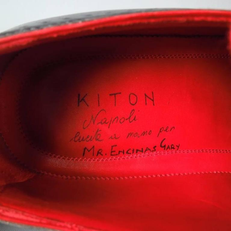 KITON Size 7.5 Men's Black & Red Leather Lace Up For Sale 2